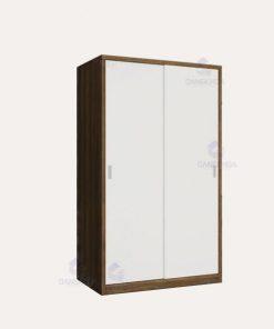 Tủ áo cánh lùa trắng viền nâu 1m2 - TQADK04
